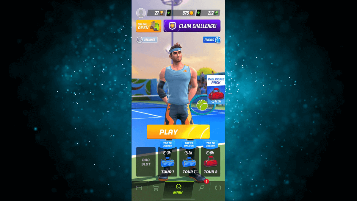 tennis clash mobile game home screen